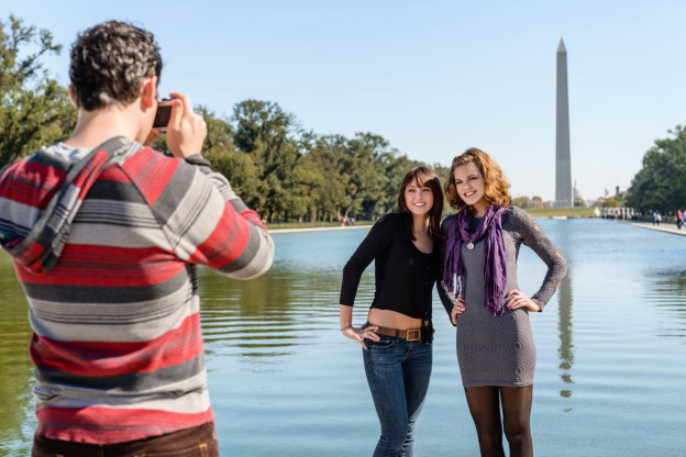 Tourists taking pictures in Washington D.C.